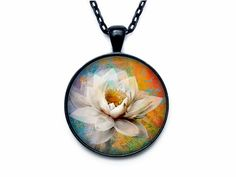 Lotus pendant  Lotus flower necklace charm by outofspacejewelry