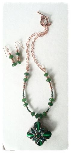 Green Cat's Eye and Jade Flower Pendant and Earring by GemsbyJoniH