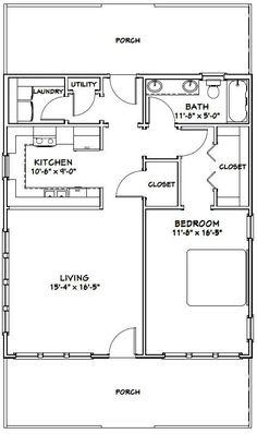 House - - 895 sq ft - Excellent Floor Plans - House Plans, Home Plan Designs, Floor Plans and Blueprints Small House Floor Plans, Cottage Floor Plans, Cottage Plan, 1 Bedroom House Plans, Guest House Plans, Cottage House, Garage Plans, Shed Plans, Barndominium Floor Plans