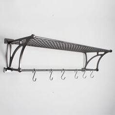 Industrial Railway Steel Luggage Shelf Rack & Hooks