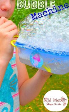 DIY Bubble Making Machine for Kids to Play With - The kids can't get enough of these! Great for parties or summer fun! http://KidFriendlyThingsToDo.com