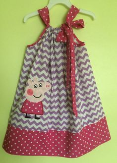 Custom Made Pillowcase Dress-Lilac Chevron with Peppa by likhaan