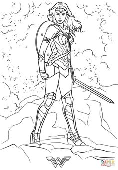 Wonder Woman Coloring Pages Page Simple The View Printable Version Color Compatible With Ipad And Android Tablets