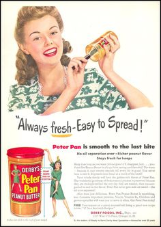 1946 Vintage Ads Derby's Peter Pan Peanut Butter // Retro Food Ads from the // Old Peter Pan Ads // Kitchen Wall Art Vintage Ads Food, Vintage Advertisements, Retro Food, Kitchen Prints, Kitchen Wall Art, Retro Recipes, Vintage Recipes, Vintage Prints, Vintage Posters