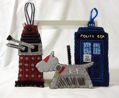 Doctor Who Dalek, TARDIS, felt Christmas Ornament (Set of three) Made to order by JustLovelyltd on Doctor Who Craft, Doctor Who Dalek, Eleventh Doctor, Doctor Who Christmas, Felt Christmas Ornaments, Christmas Gifts, Geek Crafts, Geek Girls, Dr Who
