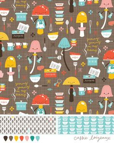 Mushroom and Pyrex vintage kitchen bolt fabric assignment- Cassie Loizeaux
