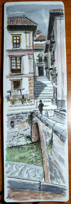 Urban Sketchers Spain. El mundo dibujo a dibujo.: Puente Cabrera y río Darro con los USK Granada