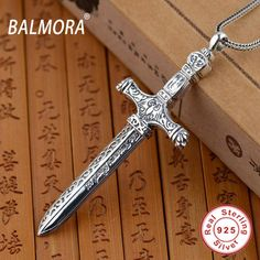 New Vintage Pendant 100% Real 925 Sterling Silver Jewelry Sword Pendants for Men Male Accessories High Quality Bijoux SY12321
