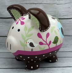 Personalized Piggy bank Artisan hand painted by Alphadorable Personalized Piggy Bank, Personalized Gifts, Baby Piggy Banks, Pig Bank, Natural Nursery, Cute Piggies, Custom Items, Craft Fairs, New Baby Products