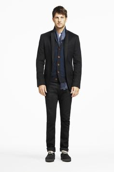October - Look 2    Selvedge Barrett Jean, Slim Fit Button-Down End-on-End Shirt, Herringbone Cardigan, Plaid/Dot Flannel Scarf, Cashmere Blazer, Mark McNairy Suede Playboy