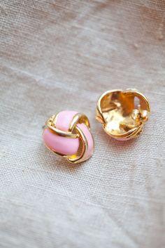 Vintage pink & gold earrings . 1980's . Retro. $10.00, via Etsy.