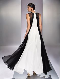 Formal Evening/Prom/Military Ball Dress - Multi-color Plus Sizes A-line Jewel Floor-length Georgette – USD $ 104.49