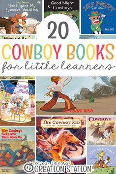 Are you planning a cowboy unit? If so, here are 20 Cowboy Books for Little Learners that go great while teaching a cowboy unit! They'll be able to discover all things about being about being a cowboy. Cowboy Theme, Cowboy Cowboy, Cowboy Baby, Western Theme, Toddler Books, Childrens Books, Kid Books, Wild West Theme, Help Teaching