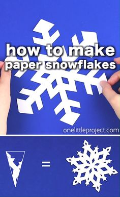 Paper snowflakes are SO SIMPLE and super inexpensive to make! This is such a classic kids craft and a super fun winter a Paper Snowflakes Easy, Snowflakes For Kids, Paper Snowflake Template, Paper Snowflake Patterns, Simple Snowflake, Snowflake Craft, Christmas Snowflakes, Snowflake Origami, Snowflake Decorations