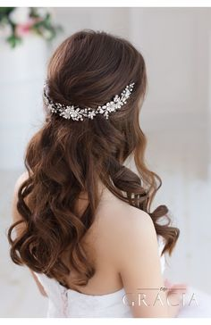 DORCIA White Silver Wedding Bridal Flower Crown by TopGracia #topgraciawedding #weddingheadpiece #bridalhairaccessories