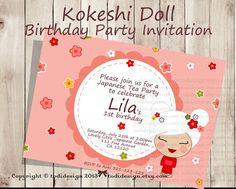 Kokeshi Doll Party Invitation  Japanese Girl Printable by todi, $15.00