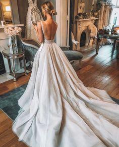 Wedding Gown Luxury A-Line Lace Backless V-Neck TulleSleeveless Slit Wedding Dresses, Dream Wedding Dresses, Wedding Gowns, Affordable Wedding Dresses, Luxury Wedding Dress, Lace Wedding, Earthy Wedding Dresses, Spring Wedding, White Bridesmaid Dresses Long, Wedding Ceremony