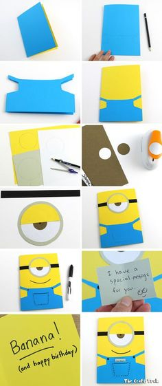 Use construction paper to create a simple Minion greeting card in 10 minutes. This one is a birthday card but it would also make a good fathers day (or any occasion!) card