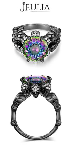 Jeulia Design Sterling Silver Four-Skull Style Women's Ring #jeulia