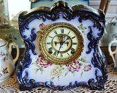Antique Porcelain Clock Ansonia Cobalt Blue 1881-92 Open Escapement Chiming 8 Day Strike Chime Mantel Parlor Victorian Era Floral Royal Bonn