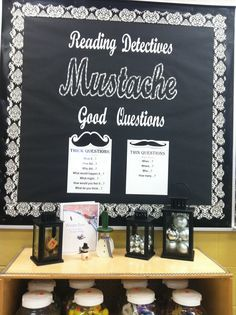 detective classroom theme - reading detective mustache good questions