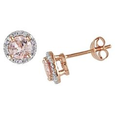 1 CT. T.W. Morganite and .072 CT. T.W. Diamond Stud Earrings Silver Plated - Pink