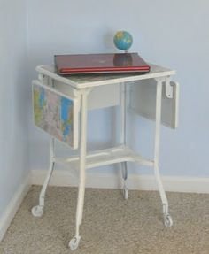 Diy, mod podge map type writer table with resin top, more durable
