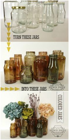 Dyed Jars - 30 Charming Vintage DIY Projects for Timeless and Classic Decor