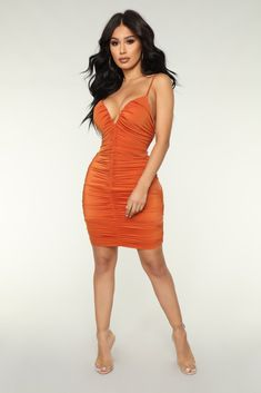 a31775ac1536 Citrus Heights Ruched Dress - Orange