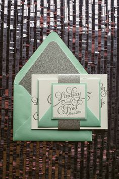Mint & Silver Wedding Invitation, mint, silver wedding invitations, glitter, letterpress wedding invitations