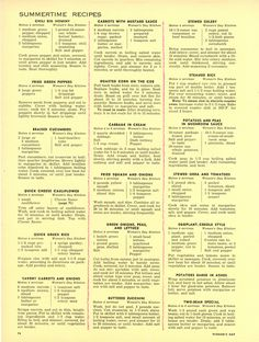 """""""The Woman's Day 1954 Summertime Cook Book"""" Main Dish Recipes from """"Woman's Day"""" Retro Recipes, Old Recipes, Cookbook Recipes, Vintage Recipes, Chili Recipes, Copycat Recipes, Cooking Recipes, Amish Recipes, Cooking Tips"""