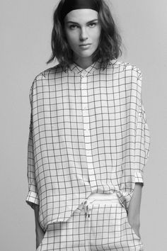 YI ZHOU OVERSIZE SILK CHECK SHIRT AND TROUSERS WITH HEARTBEAT EMBROIDERY by Each x Other