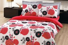 $125 Custom Queen Size Red and Black Floral Butterflies Print Bedding Set