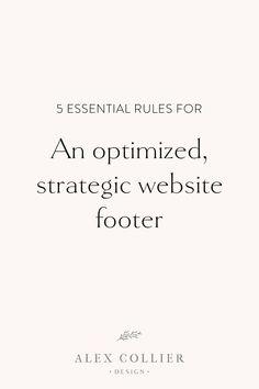 5 essential rules for an optimized strategic website footer. Website Design Inspiration, Website Design Layout, Web Design Tips, Homepage Design, Business Website, Business Tips, Website Footer, Blogger Tips, Photography Website