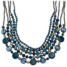Jules B Cobalt Gold-Tone Blue Layered Necklace ($34) ❤ liked on Polyvore featuring jewelry, necklaces, cobalt, cobalt necklace, blue necklace, cobalt jewelry, gold tone jewelry and beading jewelry