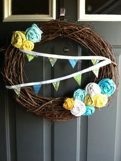 Rosette and Bunting Wreath by SelbyLanes on Etsy, $25.00