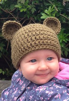 Bear Crochet Baby Hat. Baby Bear Beanie. Crochet Brown Bear Baby Hat.  Bear Hat