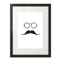 Plakat z grafiką hipstera w okularach i wąsem w czarnej ramie