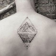 Geometric Landscape Tattoo by Bicem Sinik Geometric Tattoo Diamond, Geometric Tattoos Men, Geometric Tattoo Design, Modern Tattoos, Small Tattoos, Body Art Tattoos, Geometric Shapes, Geometric Tattoo Landscape, Landscape Tattoo
