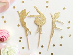Gymnastics Cupcake Toppers Set of 12 Gymnast by TopperAndTwine
