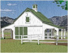 Chestnut 2-Stall Horse Barn and Run-In - This pole-barn combines a big front-to-back alley and a hay loft with two horse stalls that open on a covered grooming area. On the opposite side there's a shed-roof shelter for equipment or for a loafing shed. Click on the barn to see a floor plan with dimensions. Blueprints are available at BackroadHome.net