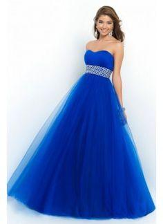 2015 Prom Dress Strapless A Line/Princess Pick Up Tulle Skirt Beaded Waistline