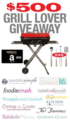 Grill Lover Giveaway $225 Amazon gift card, Coleman Grill & $50 OXO grill set! You should, too! #giveaway http://www.foodiecrush.com/2013/08/grilled-zucchini-and-a-500-grill-lover-giveaway/#comment-17368