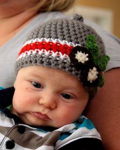 Crochet Ohio State Buckeye Beanie...<3 LOVE, LOVE, LOVE!  I'd wear it if it was made for grownups!