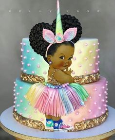 Pre Cut Pastel Rainbow Unicorn Princess Gold Shirt Babies of Color EDIBLE Cake Image Cupcakes, Unicorn Baby Cake, Unicorn Baby Shower Theme Baby Cakes, Girl Cakes, Baby Shower Cakes, Cupcake Cakes, Pretty Cakes, Cute Cakes, Beautiful Cakes, Amazing Cakes, Afro Puff
