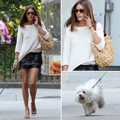 Perfect combo of sweater, leather shorts and flats