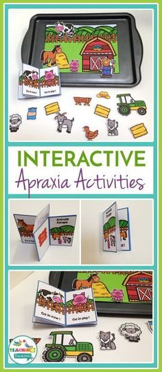 Try these cute farm theme Apraxia activities for kids! This interactive game includes a story board, drill sheet, and character cutouts so your students learn while they play in speech therapy.