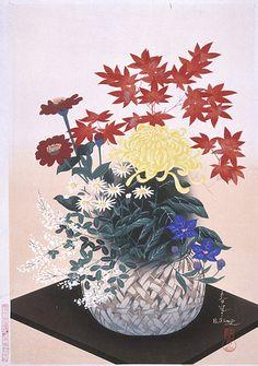 Ono Bakufu (Japan, 1888 - 1976) Fall Flower Arrangement, 20th century Print, Color woodblock print, Image: 15 3/8 x 10 15/16 in. (39.1 x 27.8 cm); Paper: 16 1/4 x 11 3/8 in. (41.3 x 28.9 cm) Gift of Mr. and Mrs. Felix Juda (M.73.37.502) © Ono Bakufu Estate