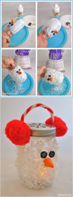 Snowman Mason Jar Luminary Super cute winter DIY craft idea for kids. Makes fun gifts for Christmas too.                                                                                                                                                                                 More