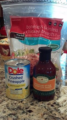 hawaiian crockpot chicken 4 -6 boneless skinless chicken breasts 1 (16 ½ ounce) can crushed pineapple 1 (16 ½ ounce) bottle archer farms hawaiian style barbecue sauce (found at Target) Directions: 1Place breasts in crock pot, pour pineapple on top of chicken and then pour sauce over all. Cook on low for 6 hours.